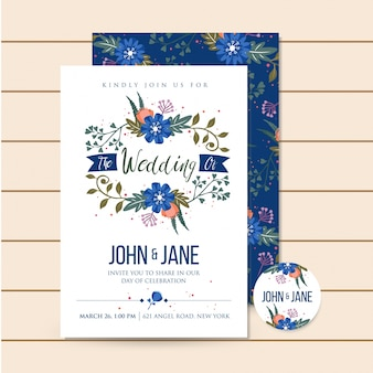 Beautiful Blue Luxury Wedding Invitation Floral Illustration