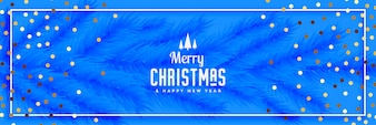 Beautiful blue merry christmas banner with leaves