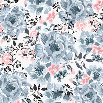 Beautiful blue and pink blossom pattern.