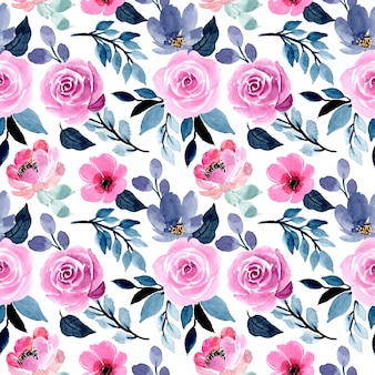 Beautiful blue and pink watercolor floral seamless pattern