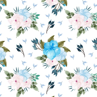 Beautiful blue and pink winter flower seamless pattern