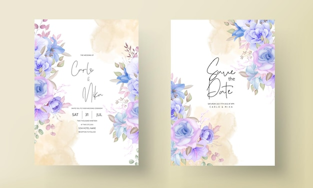 Beautiful blue and purple floral and leaves wedding invitation card design