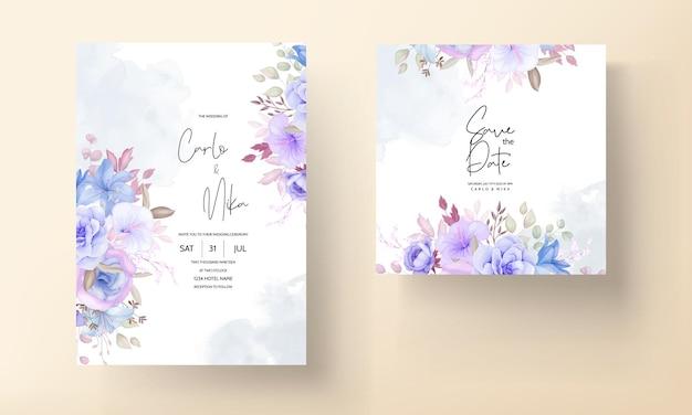 Bellissimo design floreale blu e viola e foglie di invito a nozze Vettore gratuito