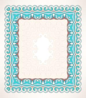 Красивая синяя прямоугольная ретро-рамка с листьями и завитками