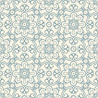 花と葉の美しい青いシームレスなレトロなパターン