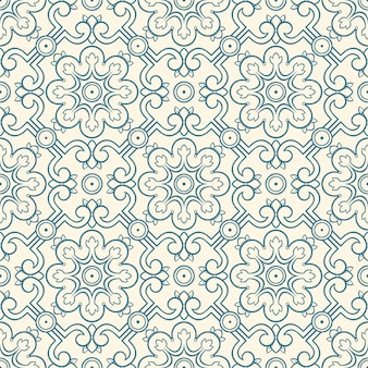 Beautiful blue seamless retro pattern with flowers and leaves