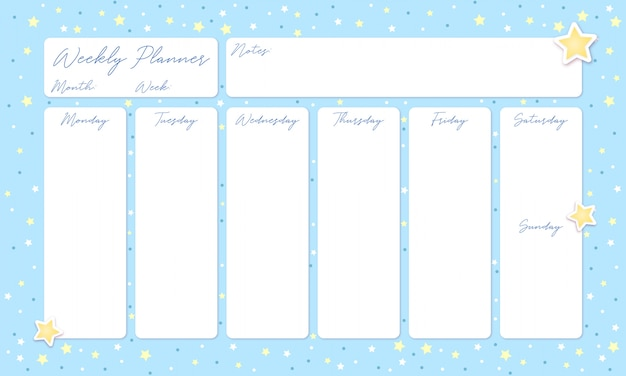 Beautiful blue sky weekly planner with stars