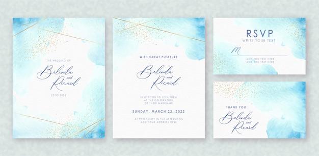 結婚式招待状セットの美しい青いスプラッシュ