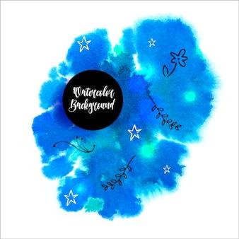 手で花の要素を描いた美しい青い水彩の背景