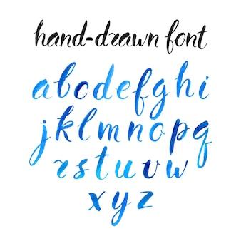 美しい青い水彩フォント。手描きイラスト