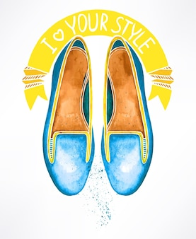 Beautiful blue watercolor shoes. hand-drawn illustration