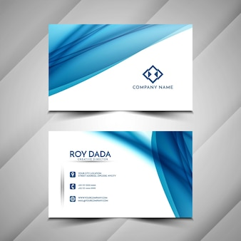 Beautiful blue wavy business card design template
