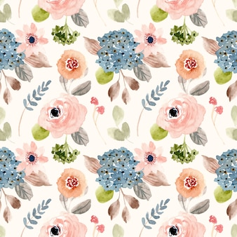 Beautiful blush blue flower watercolor seamless pattern
