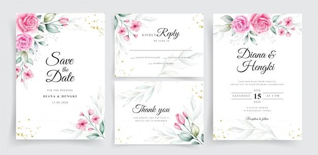 Красивая румянная цветочная акварель на свадебном шаблоне приглашения