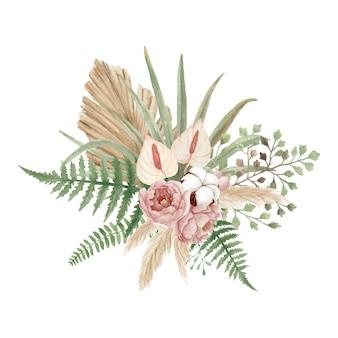 Красивый богемный цветочный букет с пионами
