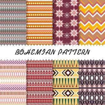 Beautiful bohemian pattern set background