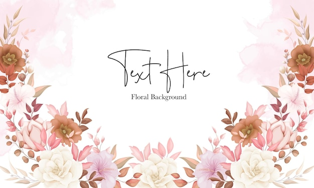 Beautiful boho floral background with brown flower