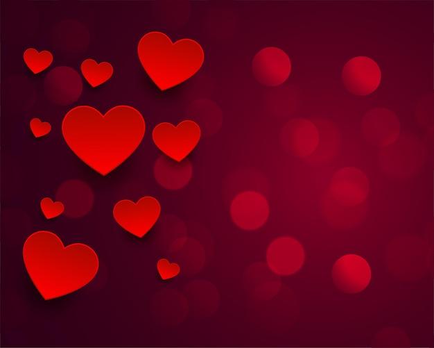 Красивое боке с дизайном красных сердечек