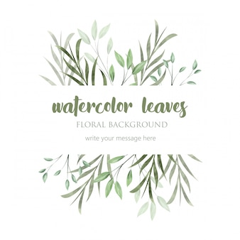Beautiful border with wild watercolor leaves