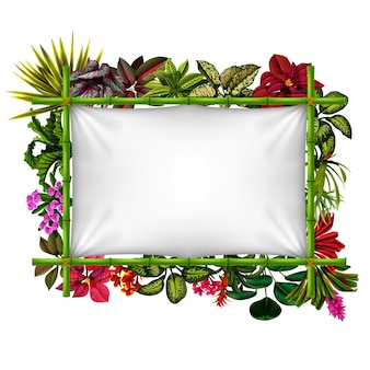 Beautiful botanical frame with the bamboo