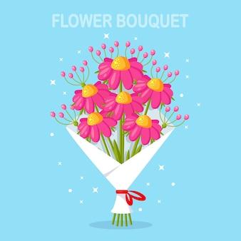 아름다운 꽃다발. 선물을위한 꽃의 무리. 인사말 카드 만화