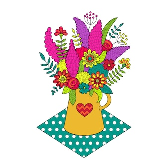 花瓶の色の花の美しい花束。孤立した。