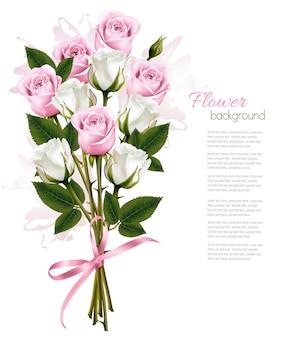 ピンクと白のバラの美しい花束。ベクター