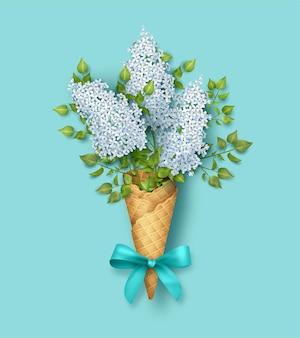와플 콘에 봄 꽃의 아름 다운 부케