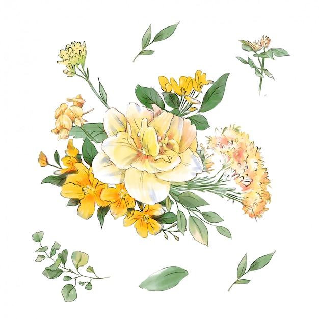 Красивый букет из весенних цветов нарциссов и листьев