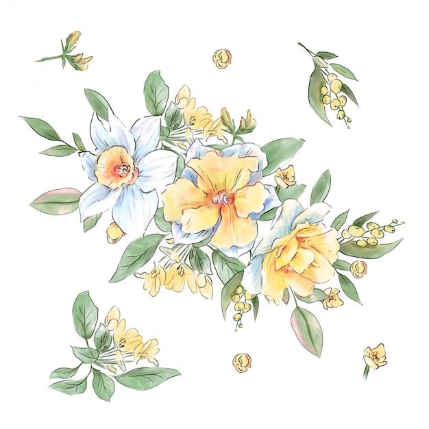 Красивый букет из весенних цветов нарциссов, незабудок и листьев