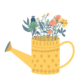 Beautiful bouquet in the watering can and butterfly