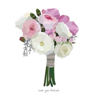 Красивый букет с садовыми цветами. цветочное украшение для подарка. векторные иллюстрации. Premium векторы
