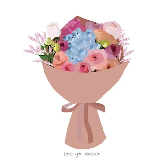 Красивый букет с садовыми цветами. цветочное украшение для подарка. векторные иллюстрации.