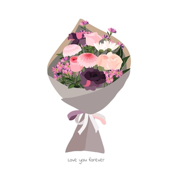 Beautiful bouquet with garden flowers. floral decoration for gift. vector illustration. Premium Vector