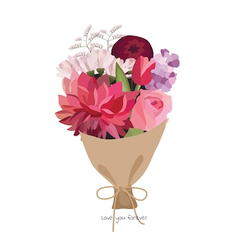 Beautiful bouquet with garden flowers. floral decoration for gift. vector illustration.
