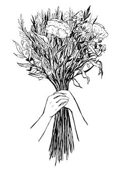 手に牡丹の美しい花束。ヴィンテージのグラフィックスケッチ。優しいグリーティングカード。白で隔離の外形図。手描きのベクトル図です。デザインの要素。
