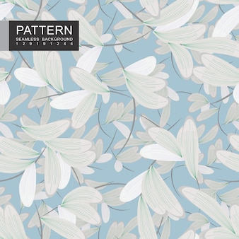 Beautiful branches with white leaves seamless pattern