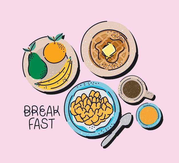 Красивая иллюстрация завтрака