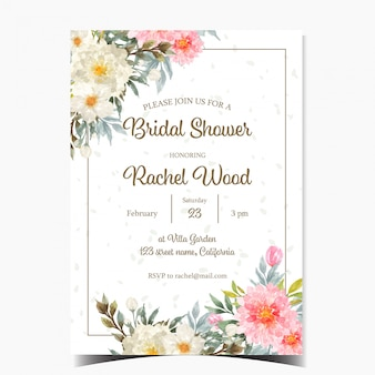 Beautiful bridal shower invitation card with white and pink flowers