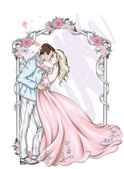 Красивая невеста и жених в свадебной одежде