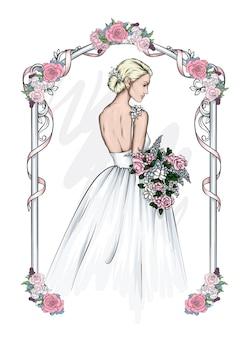 드레스에 아름 다운 신부