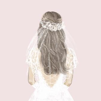 하얀 드레스를 입고 아름 다운 신부입니다. 손으로 그린 그림입니다.
