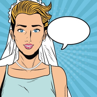 Beautiful bride pop art cartoon