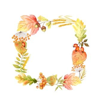 아름 다운 밝은을 잎 프레임. 수채화가 잎 손으로 그린 그림.
