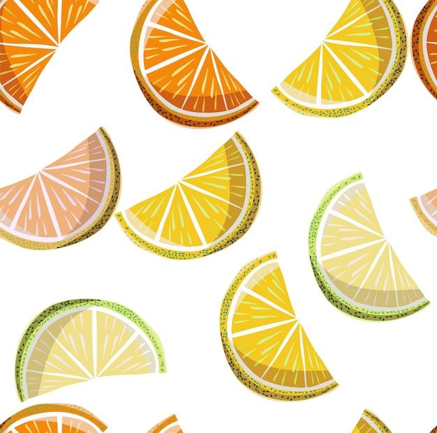 美しい明るいカラフルなおいしいオレンジの夏のデザートスライスのオレンジとマンダリンpatt