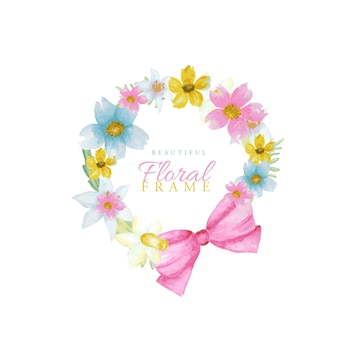 Beautiful bright colors watercolor spring flowers frame.