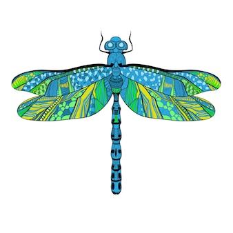 화이트에 화려한 날개를 가진 아름 다운 밝은 잠자리 개념