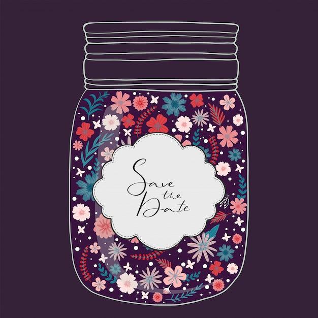 Beautiful bright flowers in a jar