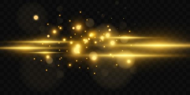 Красивая яркая горизонтальная засветка. золотые блики на прозрачном фоне. светлые полосы на темном фоне. желтые лучи.