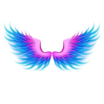 아름 다운 밝은 마법의 윤기 핑크 블루 날개